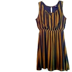 1X Delirious Olive & Black Striped Dress